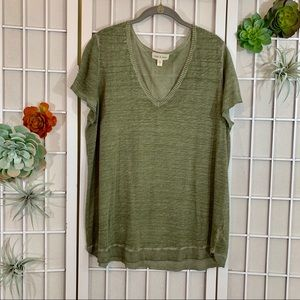 Anthropologie Cloth & Stone Olive Sweater Tee